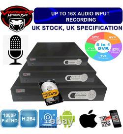 Viper Pro Cctv 4/8/16ch Dvr 1080p Hdmi Video Recorder Security Camera System Royaume-uni