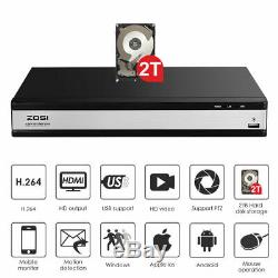 Zosi 16ch Dvr Enregistreur Hdmi 1080p Pour Le Système De Caméra De Sécurité Cctv À Distance Voir 2t
