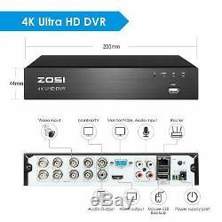Zosi 4k Cctv Dvr 8mp Uhd 2tb 8ch Système Home Outdoor Kit Caméra De Sécurité Hd Ip67