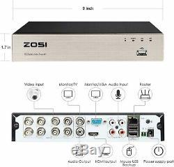 Zosi 8 Canaux 1080n Dvr Enregistreur Disque Dur 1 To Pour Le Système De Caméra De Sécurité Cctv H. 265+