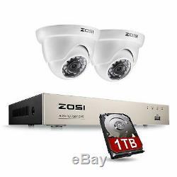 Zosi Cctv 4 Canaux 720p Système De Caméra De Sécurité 1tb Hdmi Dvr Enregistreur Ir Nuit