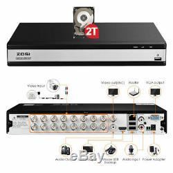 Zosi Cctv Dvr 8 Canaux 16 Ahd 1080n / 1080p Enregistreur Vidéo Vga H. 265+ Hdmi Bnc Hd
