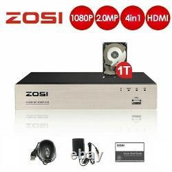 Zosi Cctv Dvr Recorder 8 Chaîne Avec 1 To Hdd 1080p Tvi Ahd H. 265+ Hdmi Vga Bnc